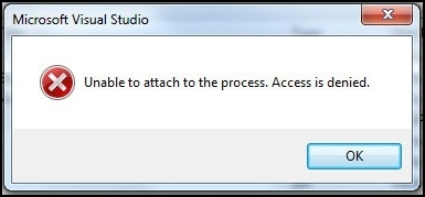 Unable to attach to the process. Access is denied.