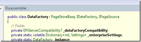 The declaration of EPiServer DataFactory viewed in Reflector