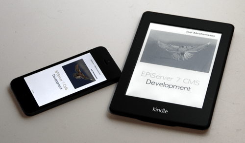 The cover of the new EPiServer book displayed in an iPhone and a Kindle.